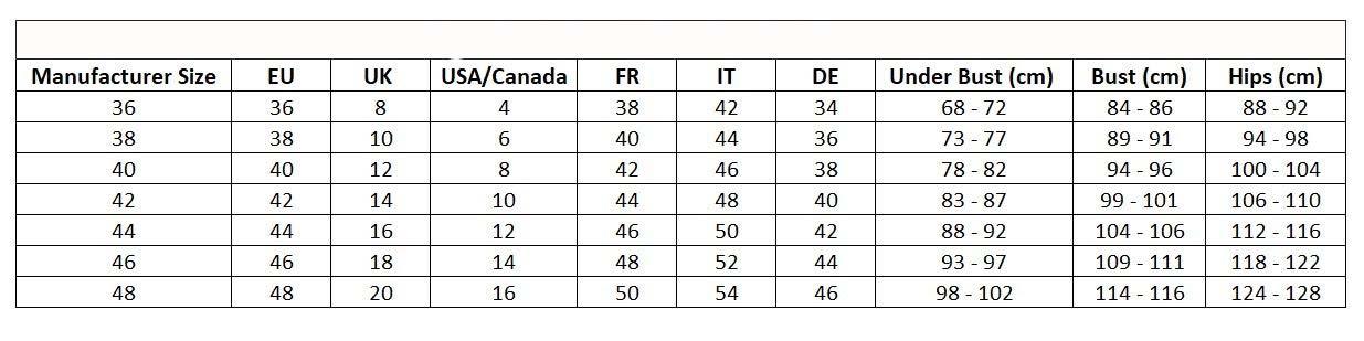 Таблица дамски бански
